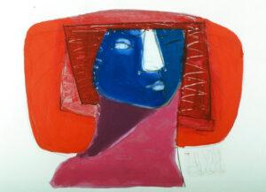 Henri Ubink, schilderijen, portretten, Acryl op papier< vrolijke kleuren