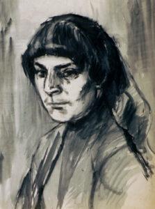 Henri Ubink, schilderijen, portretten, Acryl op papier, Maria Ubink